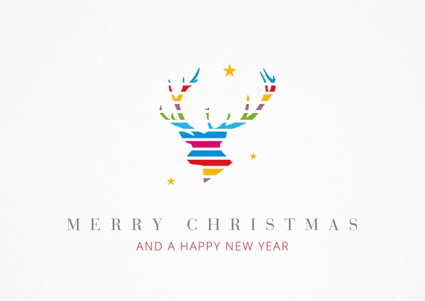 Christmas Card with colorful reindeer head  incl. New Years Greetings.