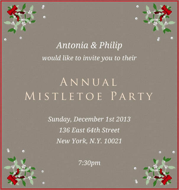 High Format Grey Advent Invitation card with Mistletoe and Red Border.