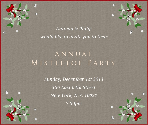 Square Grey Advent Invitation card with Mistletoe and Red Border.