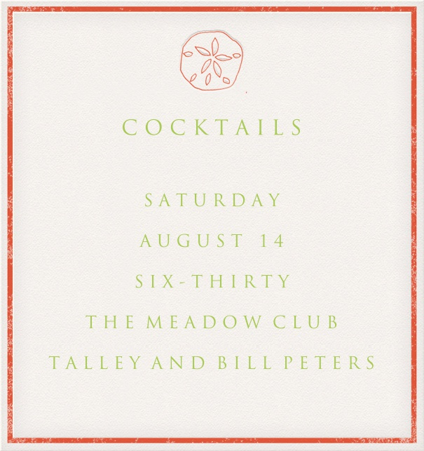 White Cocktail Party Invitation Card in high format with nautical theme and red border.