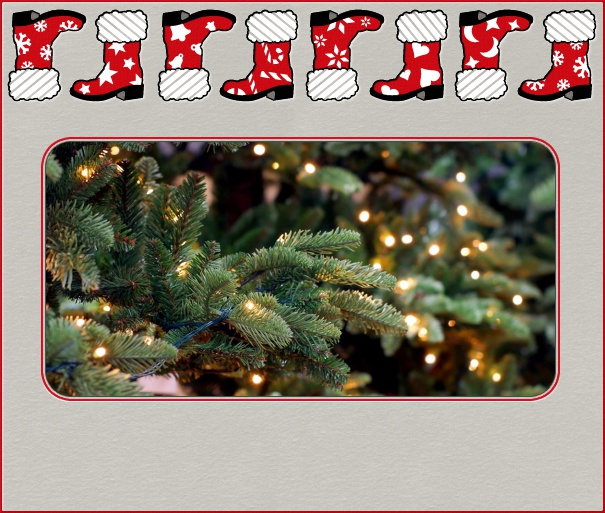 Online Christmas Card with red border and Santas Boots.