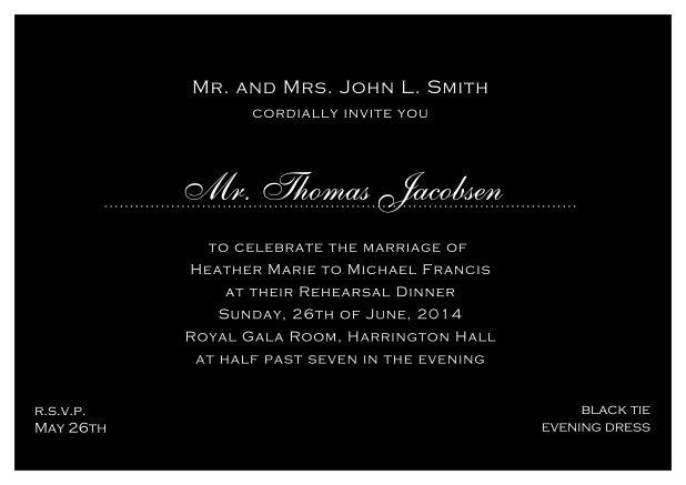blue online classic invitation card with white border and dotted line for recipient's name. Black.