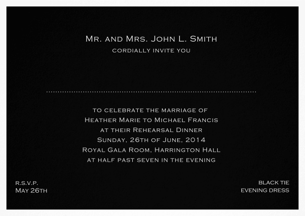 Invitation template with frame and place for guest's names - available in different colors. Black.
