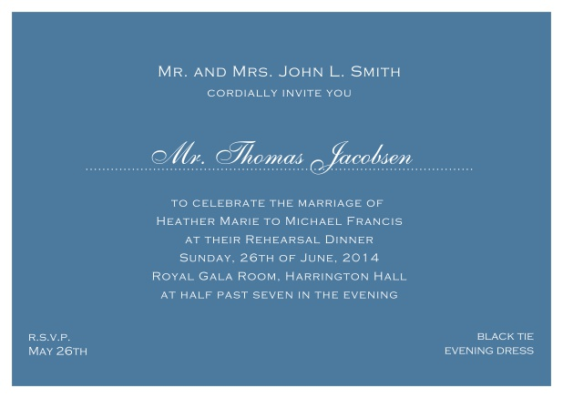 blue online classic invitation card with white border and dotted line for recipient's name. Blue.