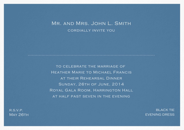 Invitation template with frame and place for guest's names - available in different colors. Blue.