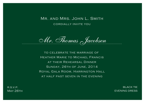 blue online classic invitation card with white border and dotted line for recipient's name. Green.