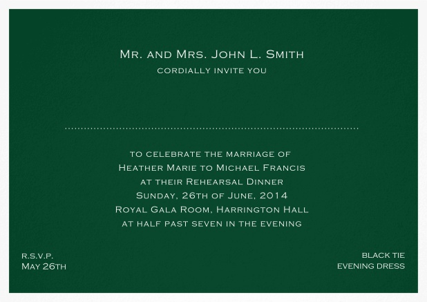 Invitation template with frame and place for guest's names - available in different colors. Green.