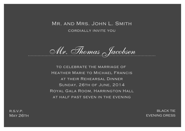 blue online classic invitation card with white border and dotted line for recipient's name. Grey.