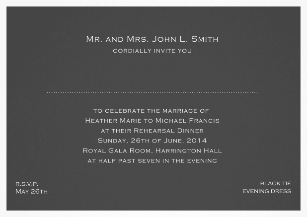 Invitation template with frame and place for guest's names - available in different colors. Grey.