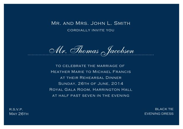 blue online classic invitation card with white border and dotted line for recipient's name. Navy.