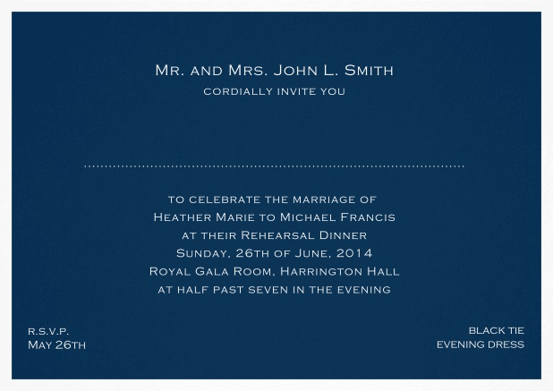 Invitation template with frame and place for guest's names - available in different colors. Navy.