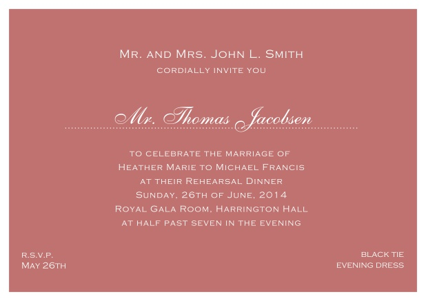 blue online classic invitation card with white border and dotted line for recipient's name. Pink.
