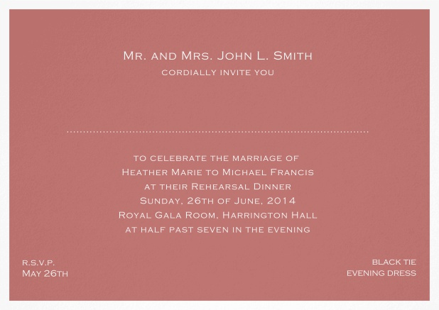 Invitation template with frame and place for guest's names - available in different colors. Pink.