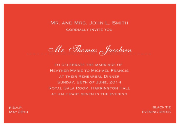 blue online classic invitation card with white border and dotted line for recipient's name. Red.
