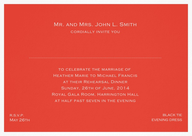 Invitation template with frame and place for guest's names - available in different colors. Red.