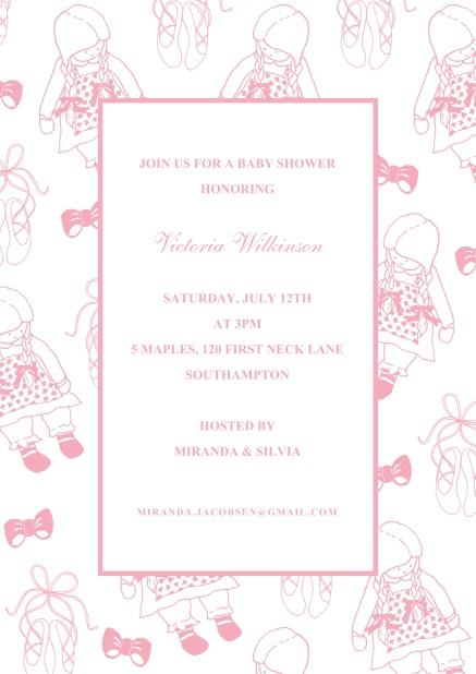 Online Children's invitation card with cute pink dolls and text box.