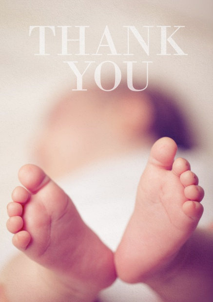 Thank you photo card with changeable photo and text thank you on top. White.