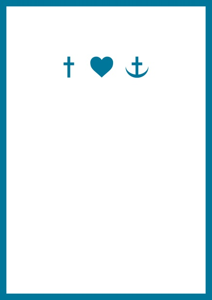 Online onfirmation invitation card in portrait format with Christian symbols on the front and customizable colors. Blue.