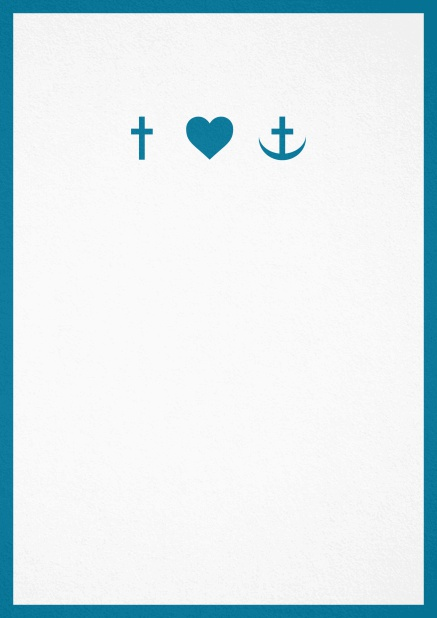 Confirmation invitation card in portrait format with Christian symbols on the front and customizable colors. Blue.