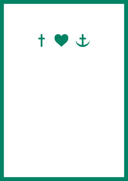 Online onfirmation invitation card in portrait format with Christian symbols on the front and customizable colors. Green.