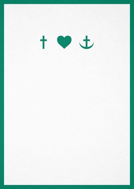 Confirmation invitation card in portrait format with Christian symbols on the front and customizable colors. Green.