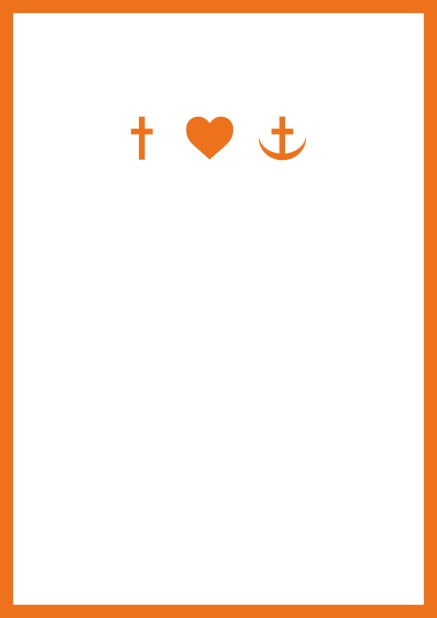 Online onfirmation invitation card in portrait format with Christian symbols on the front and customizable colors. Orange.