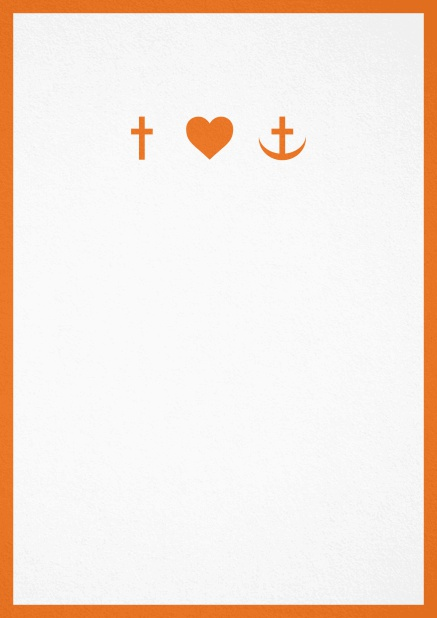 Confirmation invitation card in portrait format with Christian symbols on the front and customizable colors. Orange.