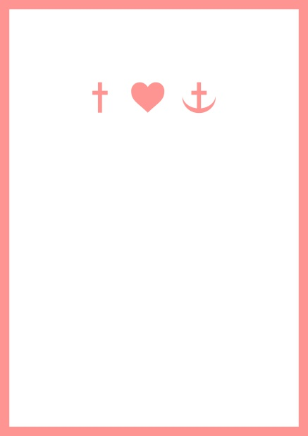 Online onfirmation invitation card in portrait format with Christian symbols on the front and customizable colors. Pink.