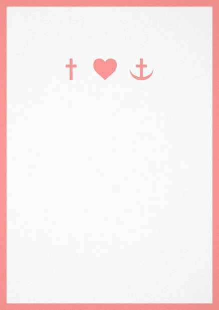Confirmation invitation card in portrait format with Christian symbols on the front and customizable colors. Pink.