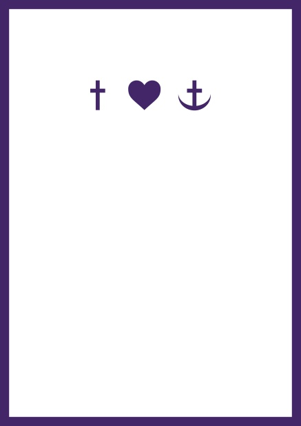 Online onfirmation invitation card in portrait format with Christian symbols on the front and customizable colors. Purple.