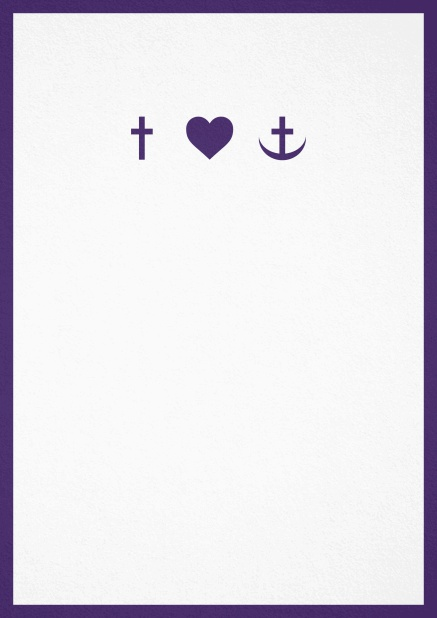 Confirmation invitation card in portrait format with Christian symbols on the front and customizable colors. Purple.