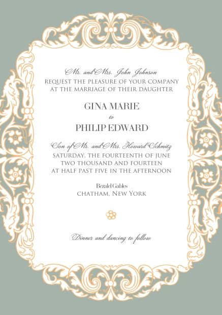 Grey online wedding invitation card with pink flowers around white text area.