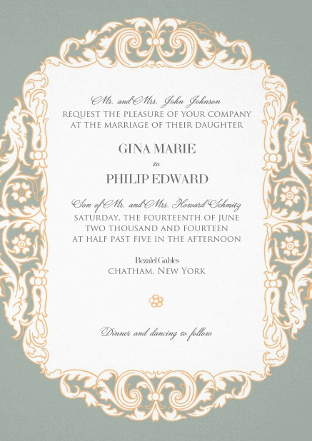Grey wedding invitation card with pink flowers around white text area.