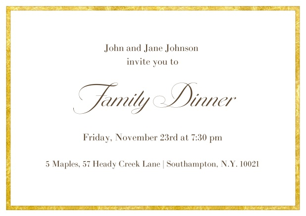 Online Classic invitation card with a fabulous golden frame in landscape format.