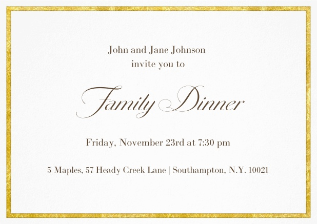 Classic invitation card with a fabulous golden frame in landscape format.