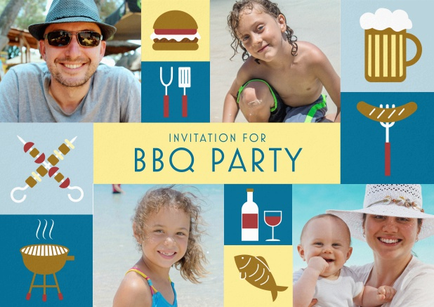 BBQ invitation card with classic grill images and photo fields to upload own photos. Blue.