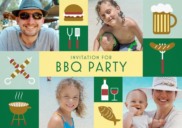 BBQ invitation card with classic grill images and photo fields to upload own photos. Green.