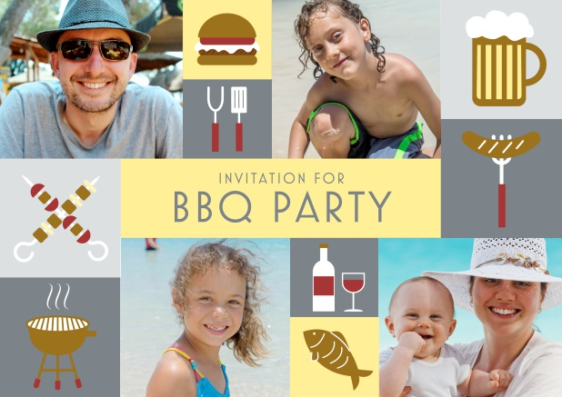 Online BBQ invitation card with classic grill images and photo fields to upload own photos. Grey.