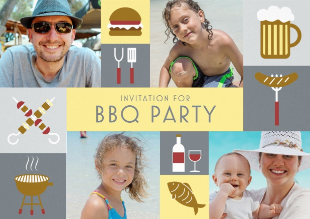 BBQ invitation card with classic grill images and photo fields to upload own photos. Grey.