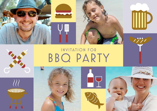 Online BBQ invitation card with classic grill images and photo fields to upload own photos. Purple.