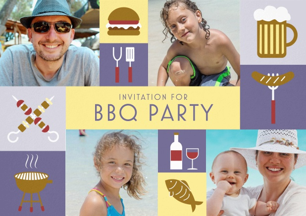 BBQ invitation card with classic grill images and photo fields to upload own photos. Purple.