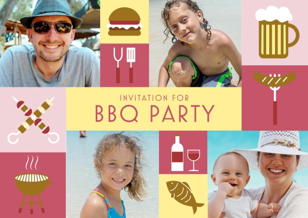 Online BBQ invitation card with classic grill images and photo fields to upload own photos. Red.
