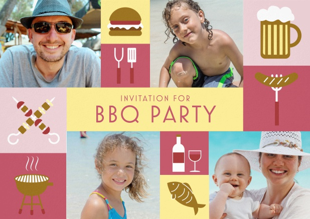 BBQ invitation card with classic grill images and photo fields to upload own photos. Red.