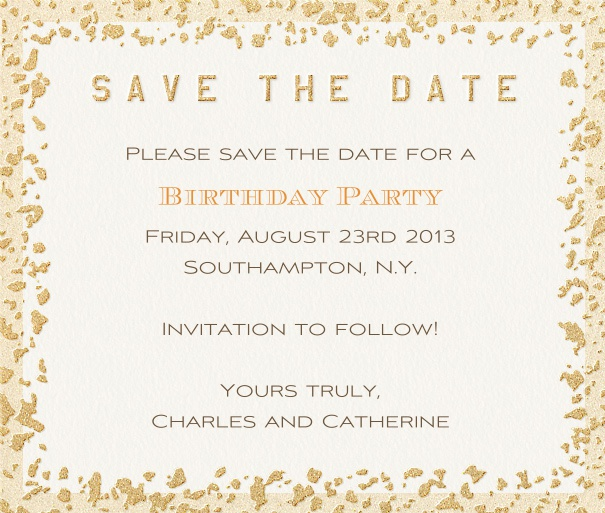 White Summer Themed Seasonal Save the Date with Gold Flaked Border.