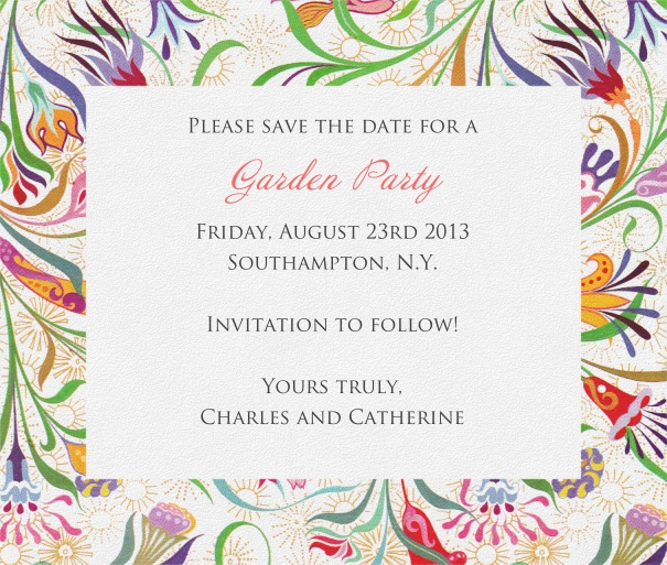 White Summer Themed Seasonal Save the Date Card with Colorful Flower Design.