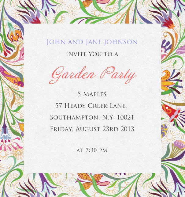 White, summer-like Invitation Card with colorful flower frame.