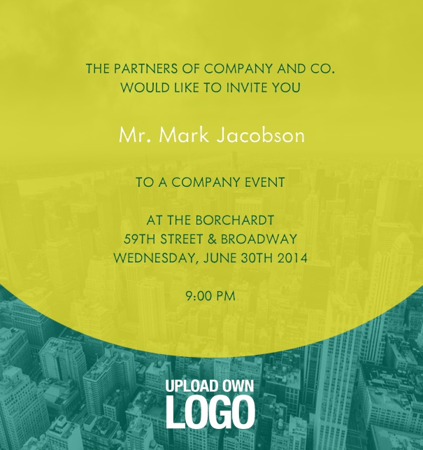Online Corporate Invitation with yellow transparent text field.