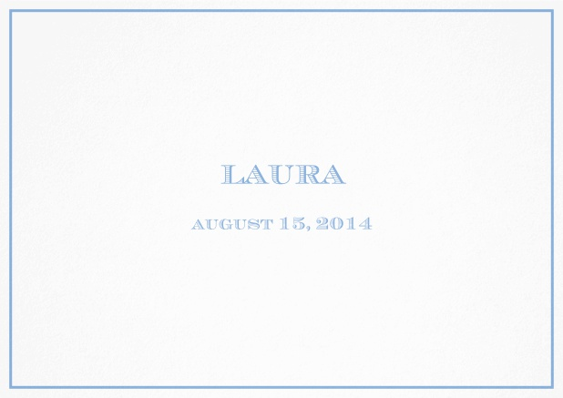 Classic Birth Announcement card wiith single line frame including photos and editable text. Blue.