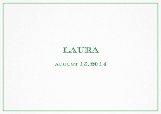 Classic Birth Announcement card wiith single line frame including photos and editable text. Green.