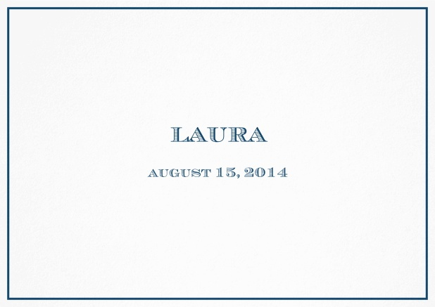 Classic Birth Announcement card wiith single line frame including photos and editable text. Navy.